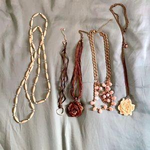 Bundle 5 romantic flower heart neutral necklaces